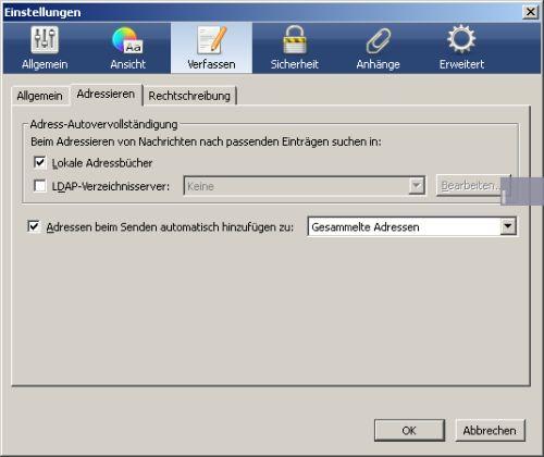 Adress-Autovervollständigung in Thundebird konfigurieren