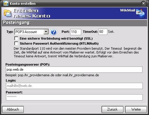 WikMail und Email.de