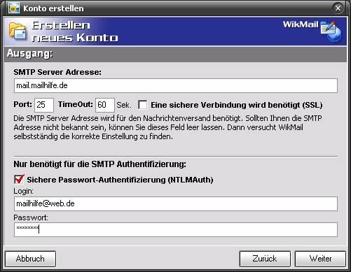 SMTP Web.de und WikMail