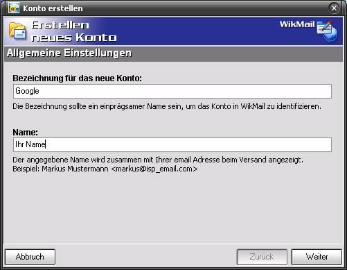 WikMail und Google Mail