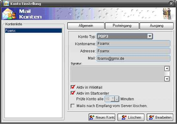 WikMail Konto Einstellungen für GMX