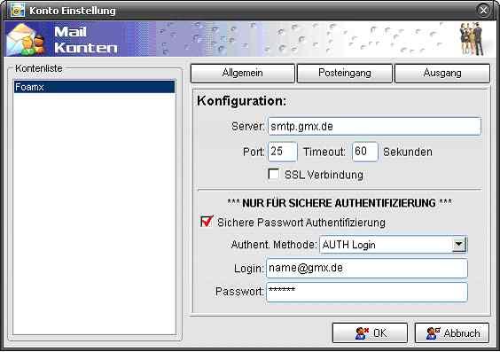 WikMail Kontoeinstellungen für GMX