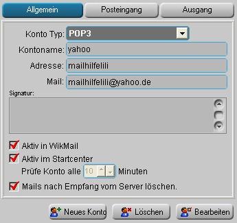 WikMail POP3 Einstellungen für Yahoo