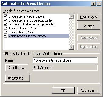 Verschieben oder hervorheben von Outlook Abwesenheitsnotizen
