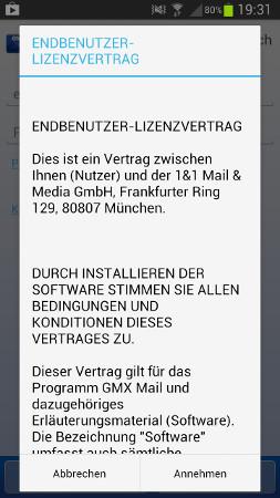 Lizenzvertrag - GMX für Android: E-Mails von GMX abrufen