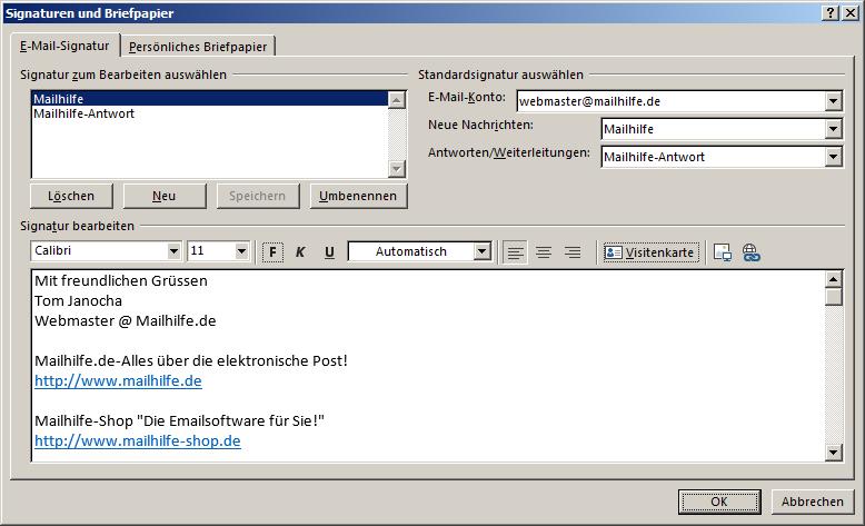 Signatur Outlook Anleitungen Mailhilfede