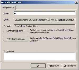 Ändern der Listenanordnung von Outlook Postfächern und pst-Dateien