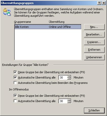 Senden und Empfangen bei Outlook ändern