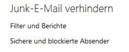 Der Junk-E-Mail Button ist im Outlook RT auf dem Surface ausgegraut