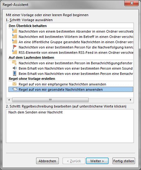 Outlook 2013 Regel für ausgehende Nachrichten erstellen