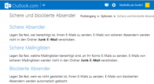 Synchronisation von Spam-Filtern für Outlook Accounts