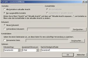 Serienmails mit Outlook benutzerdefinierten Kontaktfeldern
