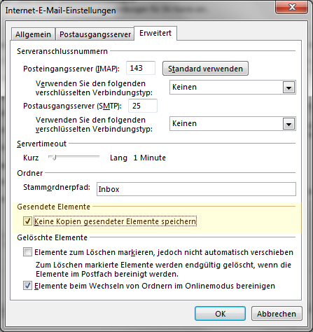 mail von gesendeten Emails beim Einsatz von Outlook