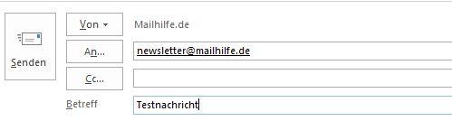 E-Mail-Kopf mit ausgegrautem Senden-Button