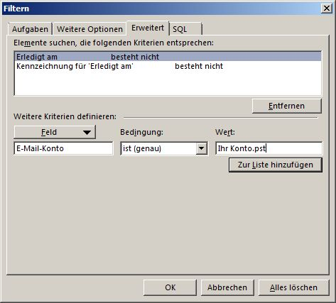 Markierte Elemente andere Postfächer in der Aufgabenleiste verbergen