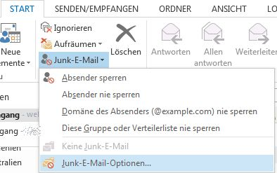 """Position des """"Junk-E-Mail-Optionen""""-Dialogfensters in Outlook 2013"""