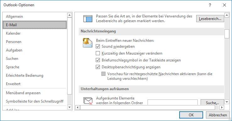 Stellen Sie sicher, dass Desktopbenachrichtigung anzeigen auch in Outlook aktiviert ist.
