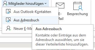 Kontakte aus Outlook Adressbuch wählen