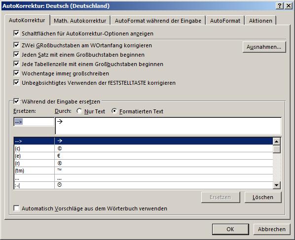 AutoKorrektur-Einträgen mit Formatierung