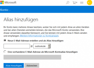 outlook.com Alias zu Ihrem Microsoft-Konto hinzufügen