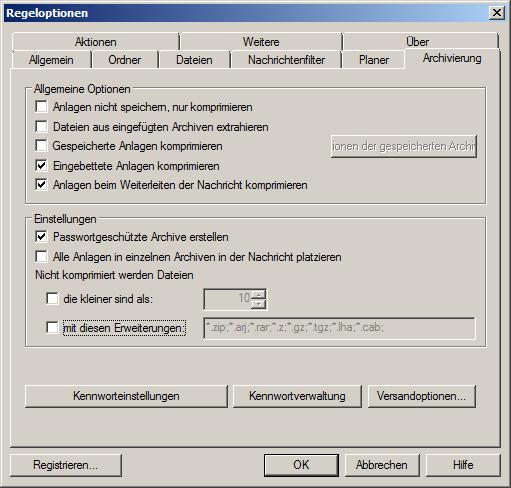 Archivierungsoptionen für Outlook-Anhänge