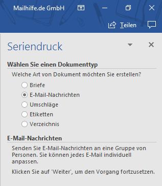 Auswahl E-Mail-Nachrichten