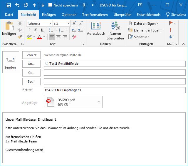 Empfangene E-Mails mit PDF-Anhängen