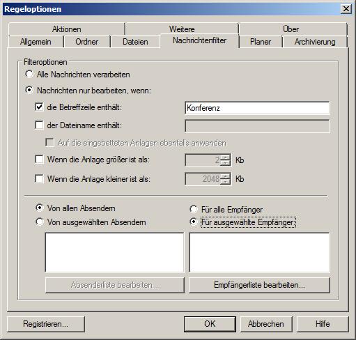 Filterregeln für Outlook-Anhänge