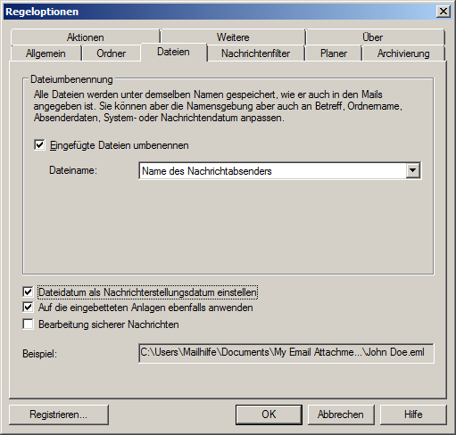Outlook-Anhang umbenennen