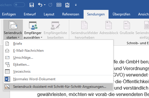 Outlook Seriendruck starten