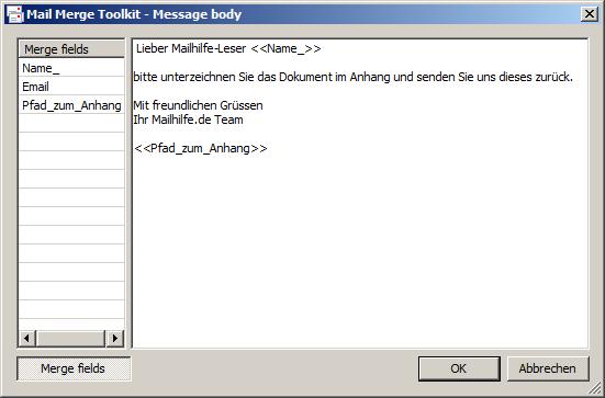 Text der E-Mail-Nachricht