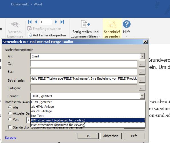 Zusammenführen von Outlook-Mails mit PDF-Anhang