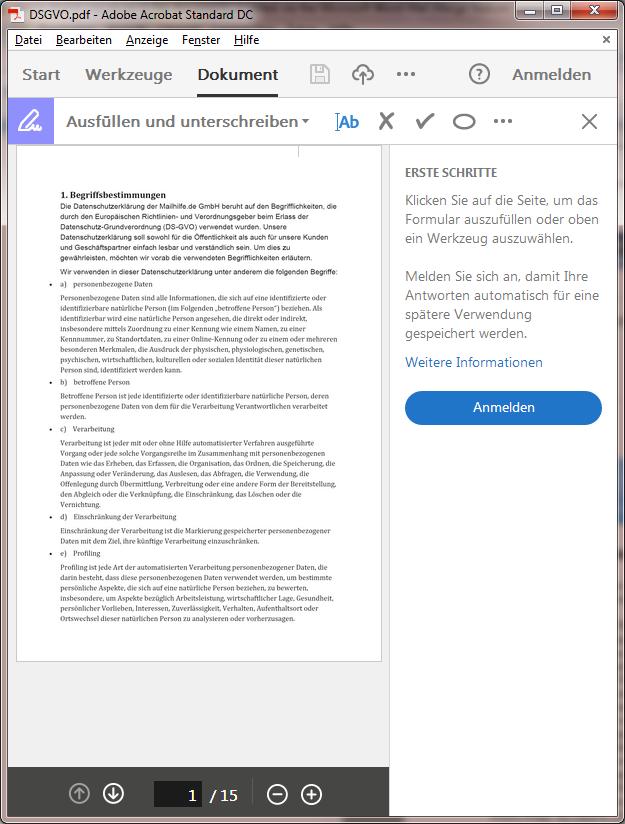 Signiertes Dokument als PDF-Datei