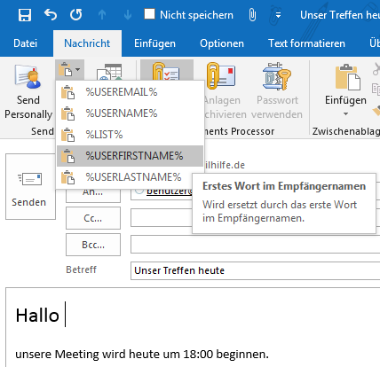 Makros in Send Personally for Outlook