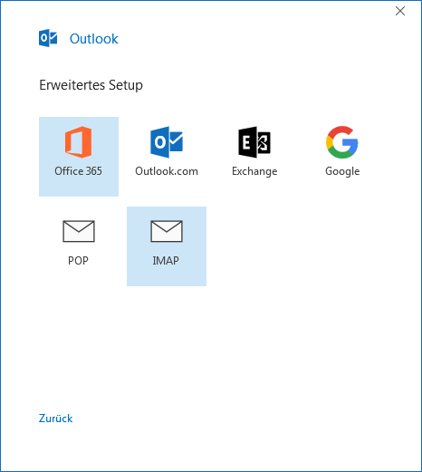 Konto Auswahl in Outlook