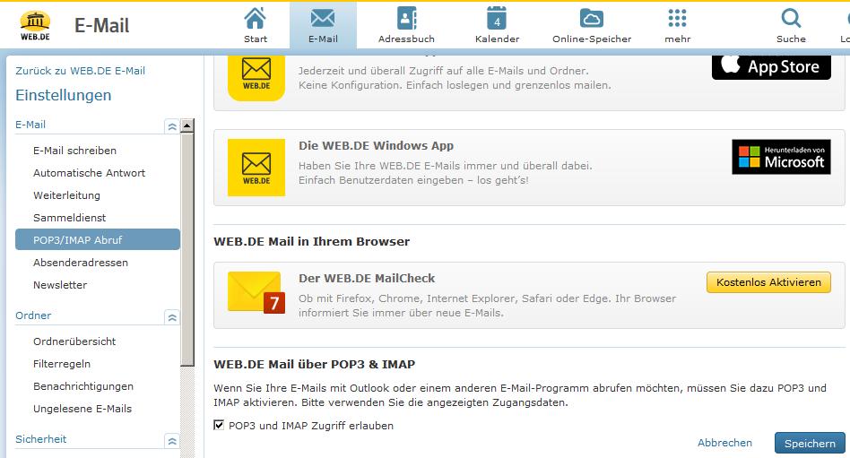 Web.de freemail login mit Outlook per SSL verwalten › Outlook 8