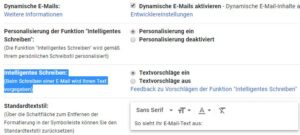 Intelligentes Schreiben deaktivieren bei Gmail