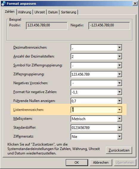 Auswahl des Standard-Listentrennzeichens in den Regionseinstellungen von Windows.
