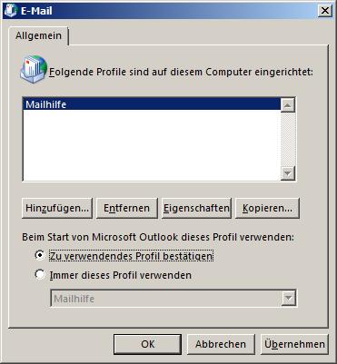 Eine Übersicht über die konfigurierten Mail-Profile für Outlook. Es ist konfiguriert, um zu fragen, mit welchem Profil Outlook gestartet werden soll.