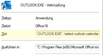 Erstellen einer benutzerdefinierten Verknüpfung mit der Befehlszeile, um zu starten. Outlook im Ordner Kalender