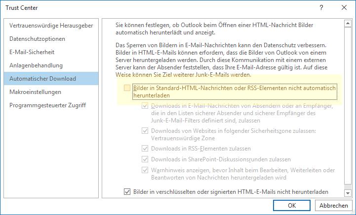 Bilder in Outlook automatisch herunterladen