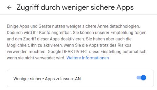 Google Weniger Sichere Apps Zulassen
